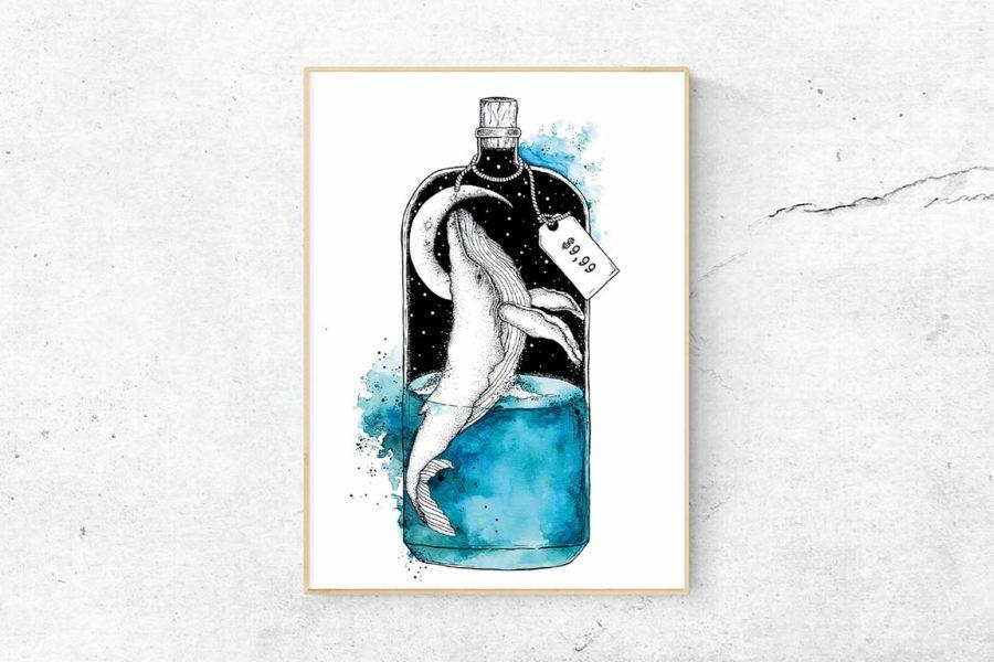 """Kunstdruck """"Flaschenpost"""""""