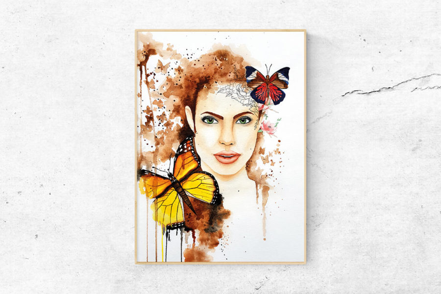 "Kunstdruck ""BUTTERFLY WOMAN"""