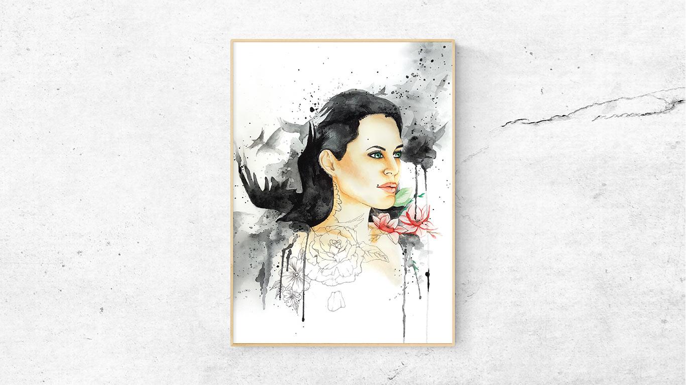 """Kunstdruck des Aquarellbildes """"RAVEN GIRL"""""""